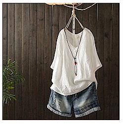 寬鬆褶皺v領棉麻t恤短袖短袖上衣-設計所在