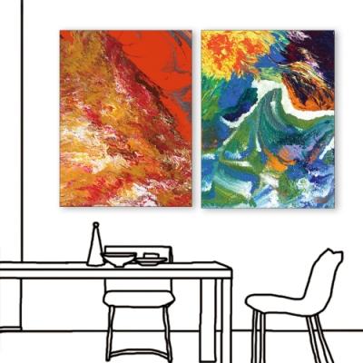 24mama掛畫 二聯式 藝術抽象 油畫風無框畫 60x80cm-今天的用餐心情