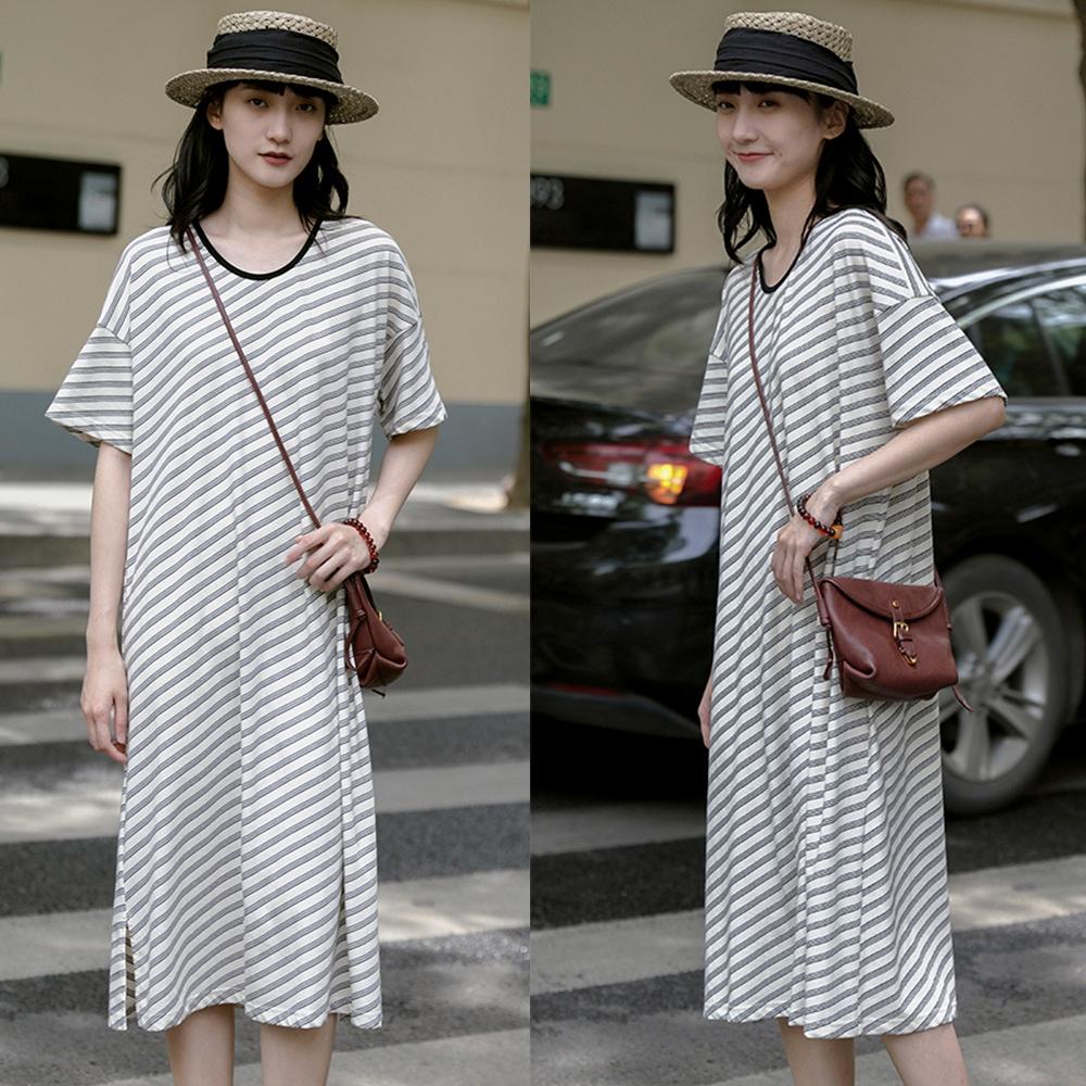 40s色織新疆長絨棉U領斜紋設計T恤洋裝-設計所在