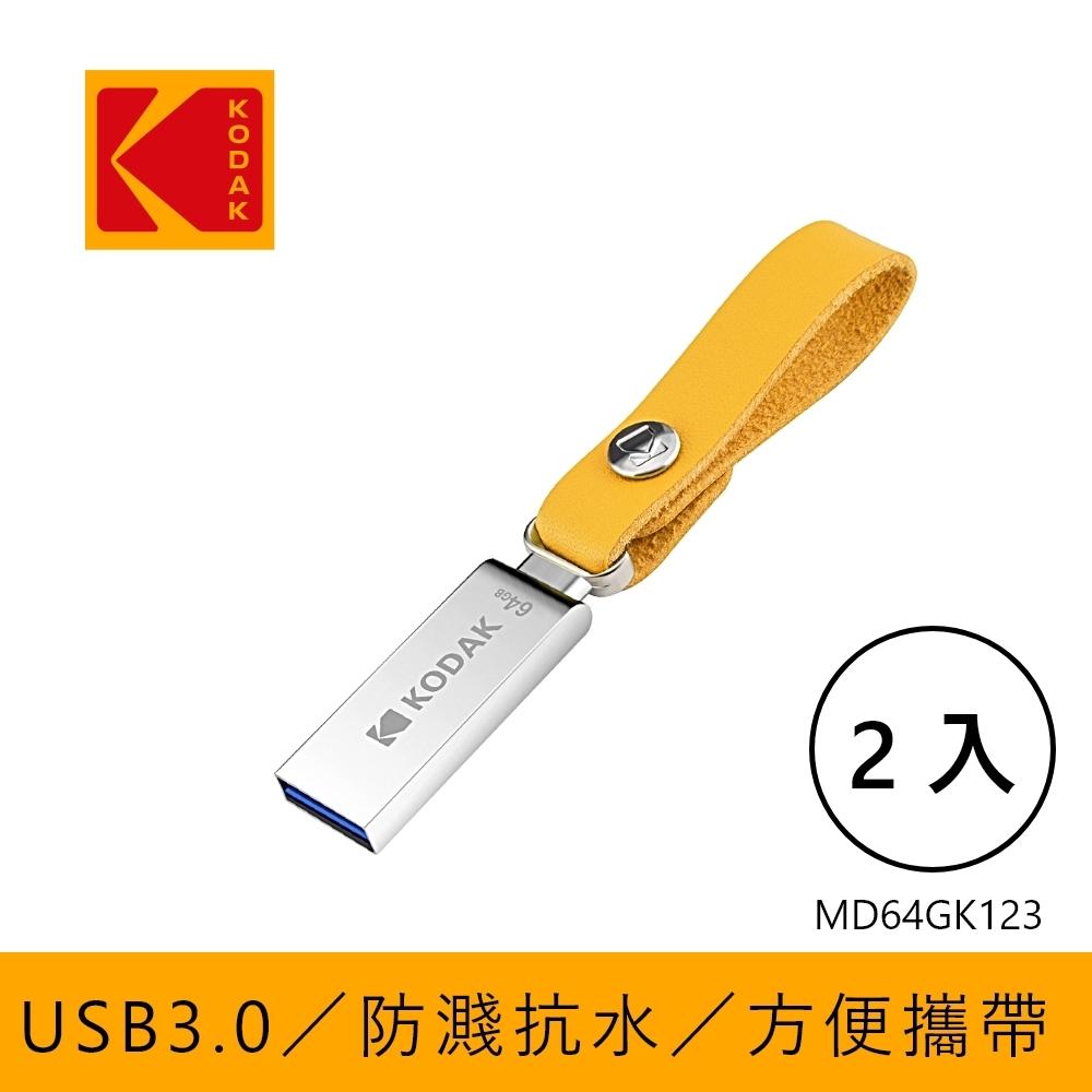 KODAK 柯達 USB3.1 K123 64GB 直插式随身碟-二入