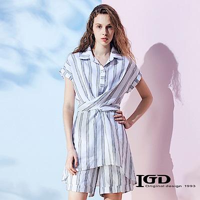 IGD英格麗 粗條紋開領解構上衣-白