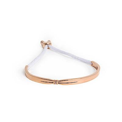 agnes b. 玫瑰金女性手環棉繩(白)