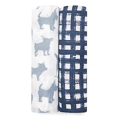 美國aden+anais輕柔新生兒包巾(2入)-狗狗灰藍AA4045