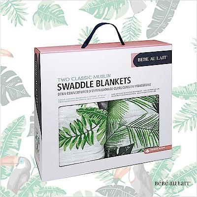 美國 Bebe Au Lait 經典棉紗布包巾2入禮盒(里約棕櫚)