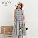 東京著衣-YOCO 氣質格紋棉麻排釦無袖洋裝-S.M.L(共二色)