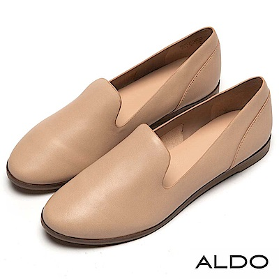 ALDO 原色真皮鞋面木紋平底休閒鞋~質感裸色