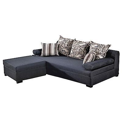 文創集 布納德時尚灰亞麻布L型可收納沙發(三人座+椅凳)-200x148x87cm-免組