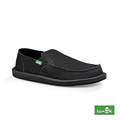 SANUK VAGABOND CHILL 復古格紋內刷毛寬版懶人鞋-男款(黑色)