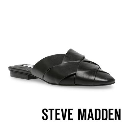 STEVE MADDEN-GAMBIT 編織尖頭平底拖鞋-黑色