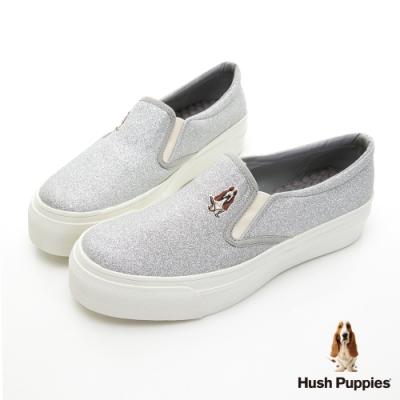 Hush Puppies 閃耀咖啡紗休閒便鞋-銀色