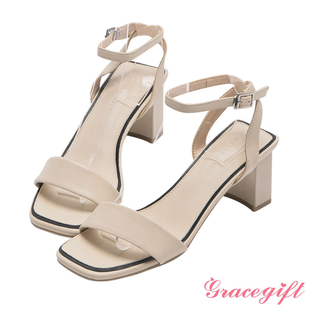 Grace gift-寬帶繫踝中跟涼鞋 米白