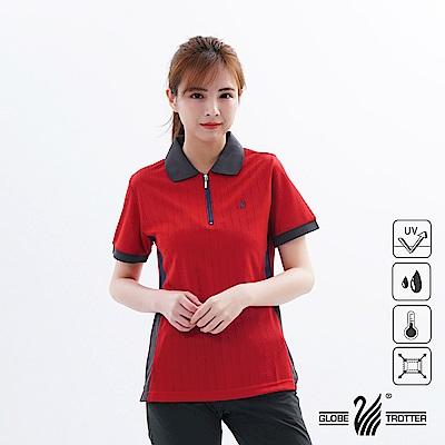 【遊遍天下】MIT女款吸濕排汗抗UV機能POLO衫SV050紅色