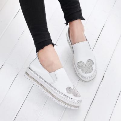 [時時樂限定]Camille's 韓國空運-厚底水鑽懶人小白鞋-4款任選