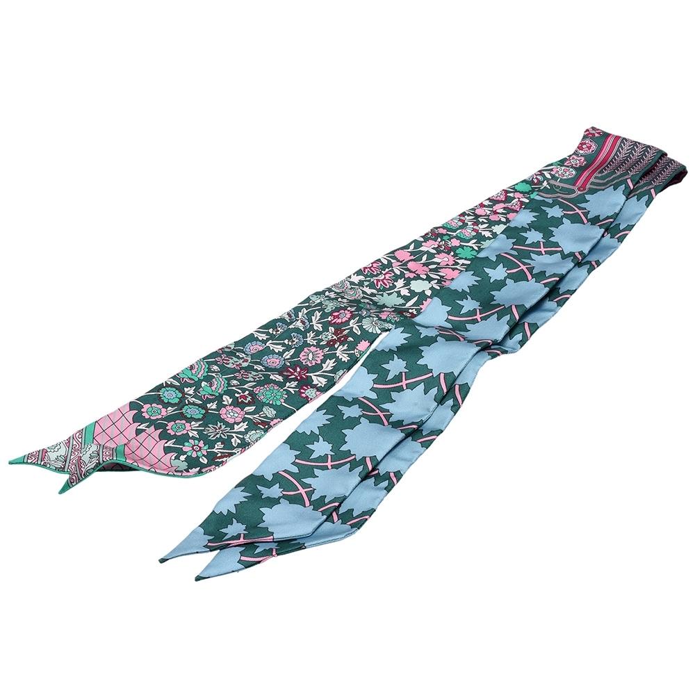 HERMES Tapis Persans繽紛花朵Twilly幾何絲巾領結(綠_一組兩條)