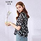 SEMIR森馬-雪紡花漾荷葉碎花造型上衣-女(2色)