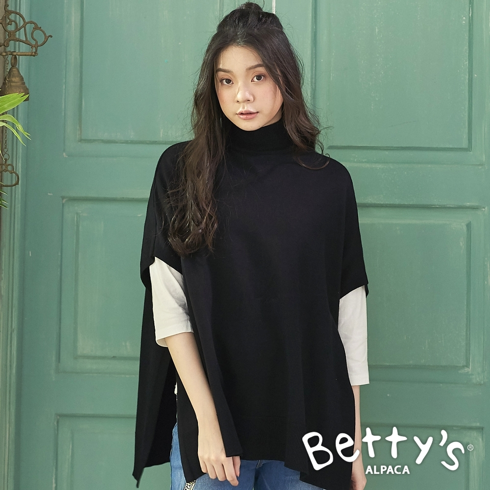 betty's貝蒂思 歐美風格中高領純色斗篷(黑色)