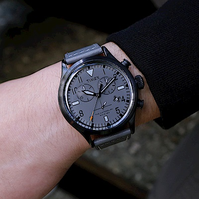 TIMEX xTODD SNYDER聯名限量Waterbury 雙眼計時腕錶-灰/42mm