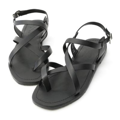 D+AF 隨性搭配.交叉套指方頭平底涼鞋*黑