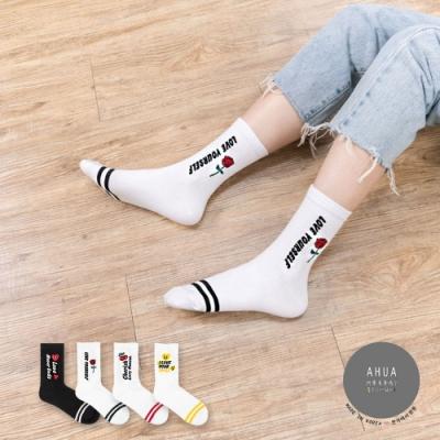 阿華有事嗎  韓國襪子 美式英文標語小圖中筒襪  韓妞必備 正韓百搭純棉襪