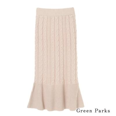 Green Parks 迷人麻花辮拼接針織喇叭長裙