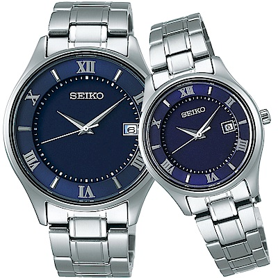 SEIKO精工 SPIRIT 鈦金屬 太陽能簡約對錶(SBPX115J+STPX065J)