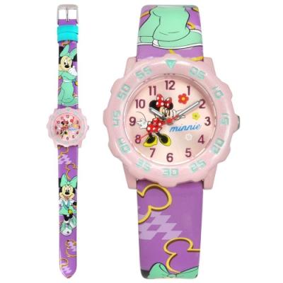 Disney 迪士尼 米奇系列 米妮面板 分鐘轉盤 兒童 卡通 皮革手錶-粉x紫/32mm