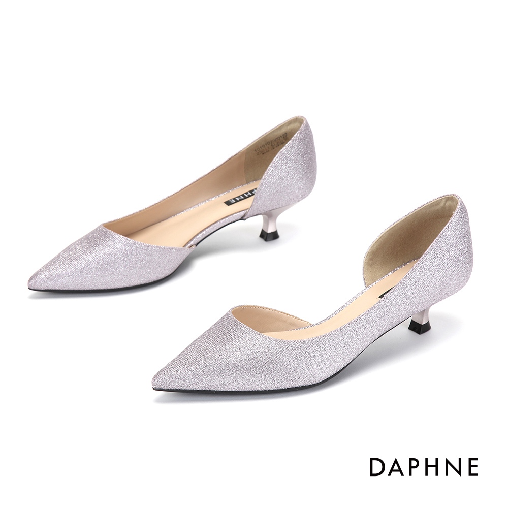 達芙妮DAPHNE 尖頭鞋-微美鏤空夜宴尖頭低跟鞋-淺紫