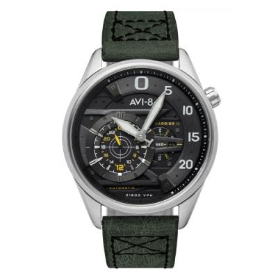 AVI-8 飛行錶 Hawker Harrier II 戰鬥機械錶-黑x綠/44mm