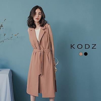 東京著衣-KODZ 質感爆表衣櫥必備綁帶長版西裝背心-S.M.L(共兩色)