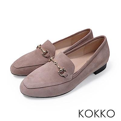 KOKKO  - 雅緻金屬扣環方頭休閒平底鞋-天鵝灰