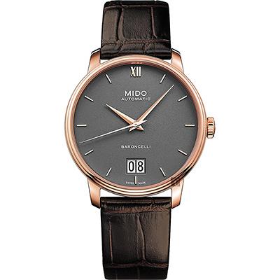 MIDO美度 BARONCELLI 永恆系列 III 大日期機械錶-灰x咖啡皮帶/40mm