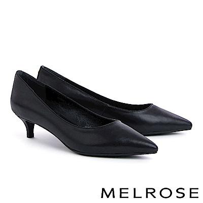 高跟鞋 MELROSE 簡約質感金色鉚釘羊皮尖頭高跟鞋-黑