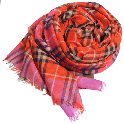 BURBERRY 義大利製經典格紋羊毛絲綢披肩/圍巾(橘紅格)