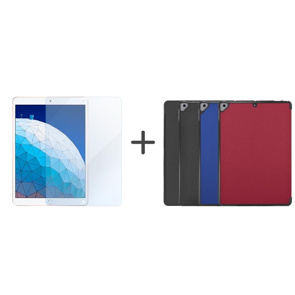Metal-Slim Apple iPad Air 10.5 2019 高仿小牛皮三折立架式皮套+抗藍光玻璃保護貼