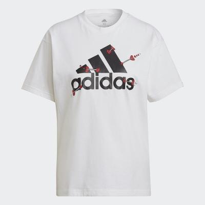 adidas V-DAY 白 運動休閒短袖上衣 女款 GL0870