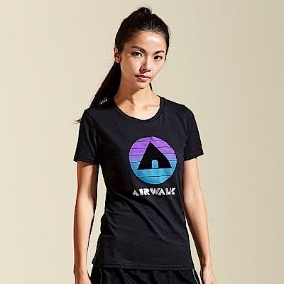 【AIRWALK】夏日經典棉圓領T恤-黑色