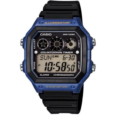 CASIO 雷神戰士個性運動電子錶-黑x藍(AE-1300WH-2A)/31mm