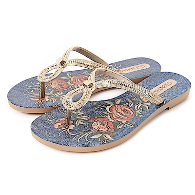 GRENDHA 晶鑽刺繡圖紋玫瑰夾腳鞋-牛仔藍