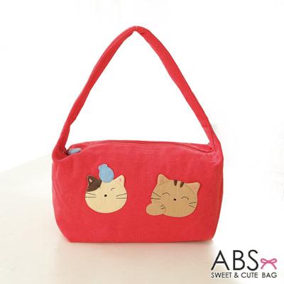 ABS貝斯貓 可愛貓咪手工拼布肩背包 手提包(甜心粉)88-021