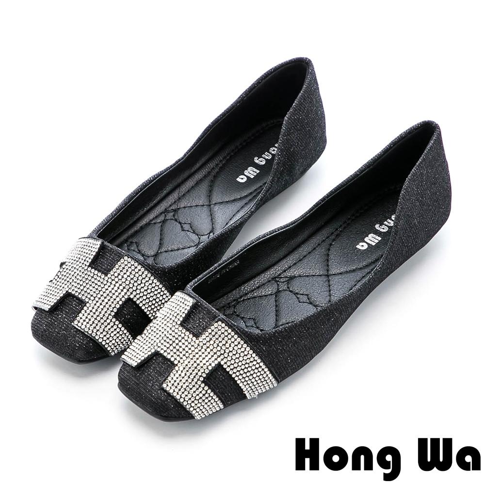Hong Wa 時尚水鑽字母金蔥方頭娃娃鞋 - 黑