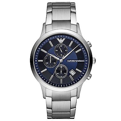 Emporio Armani 自信風範三眼計時手錶(AR11164)-藍X銀/43mm