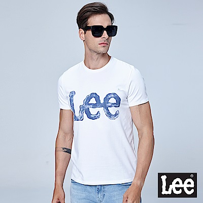 Lee 水彩大LOGO短袖圓領TEE-白色