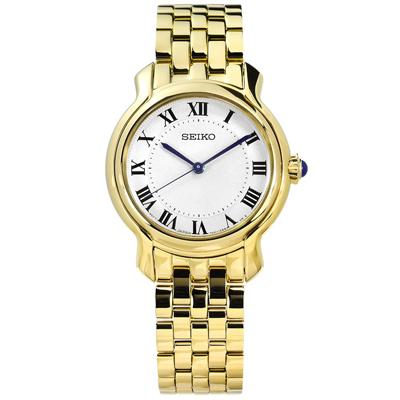 SEIKO 精工 歐式羅馬刻度礦石強化玻璃日本機芯不鏽鋼手錶-銀x鍍金/29mm