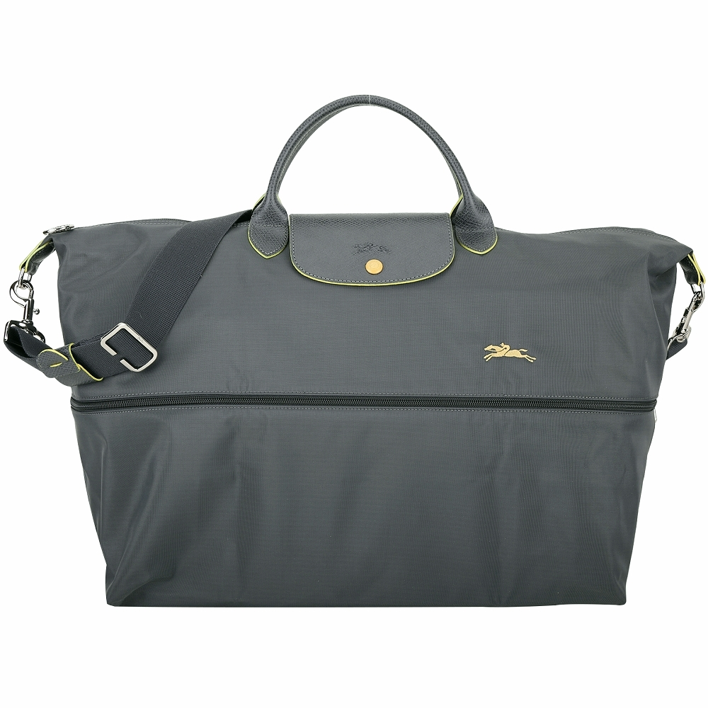 LONGCHAMP Le Pliage 大型 奔馬刺繡伸縮夾層尼龍兩用旅行袋(深灰色)