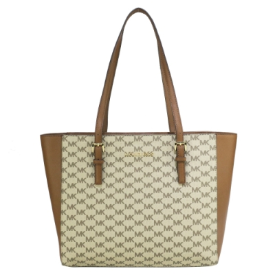 MK MICHAEL KORS JET SET TRAVEL 滿版拼接LOGO托特包-棕