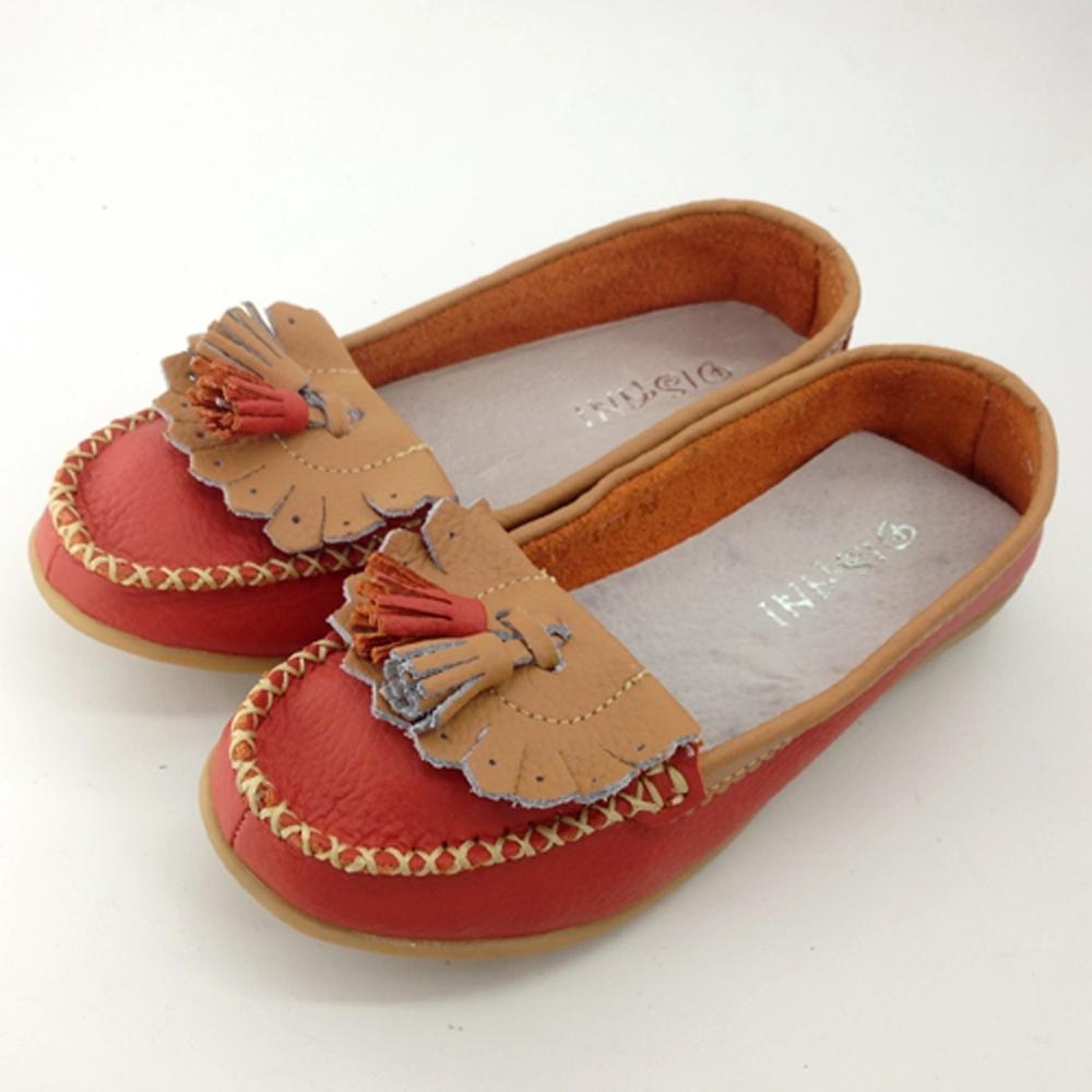 韓國KW美鞋館-雙色百搭流蘇造型真皮鞋-橘色