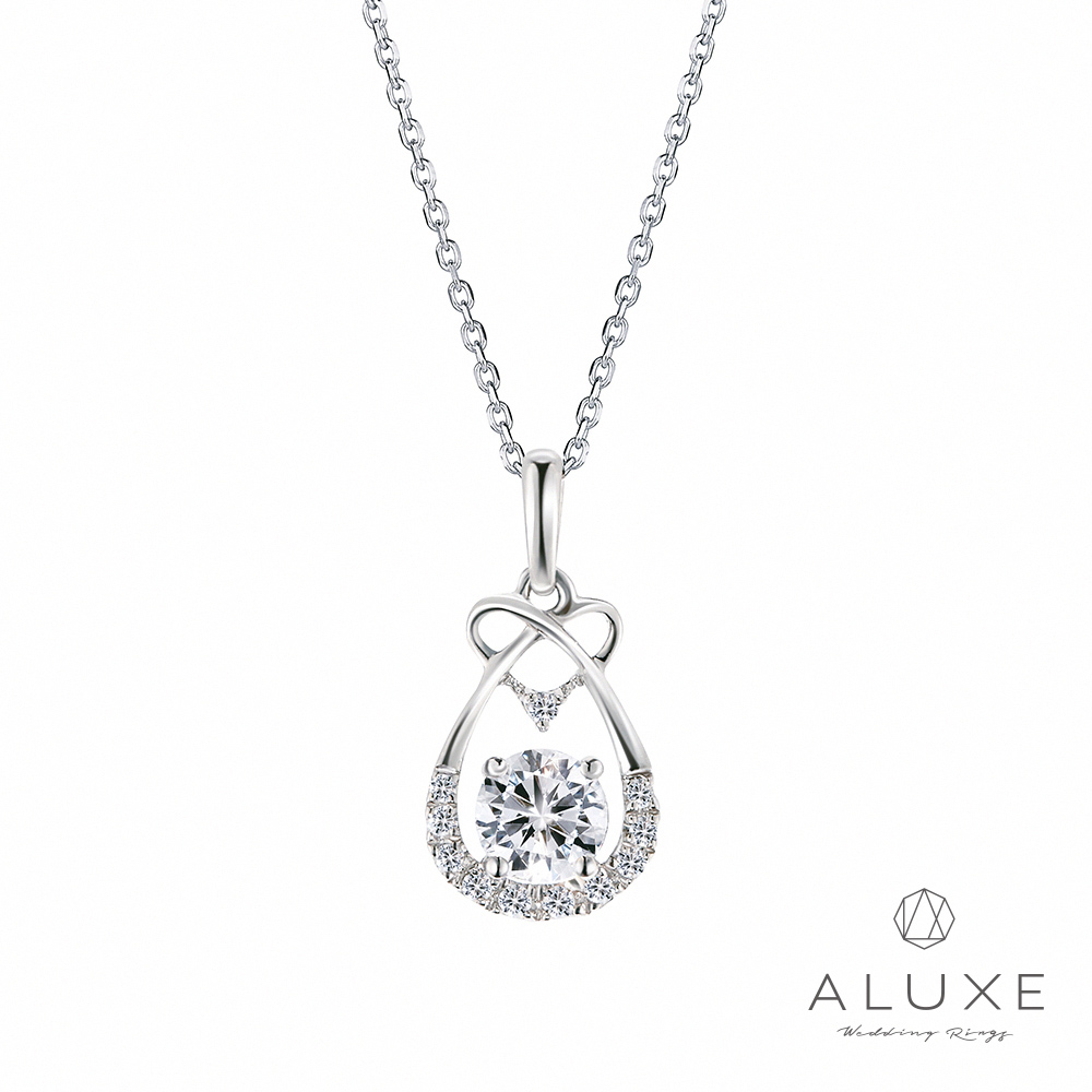 ALUXE 亞立詩 18K金 0.50克拉幸福光環鑽石項鍊
