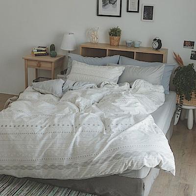 翔仔居家 台灣製 100% 精梳純棉薄被套床包3件組 - 單人(懷特小姐)