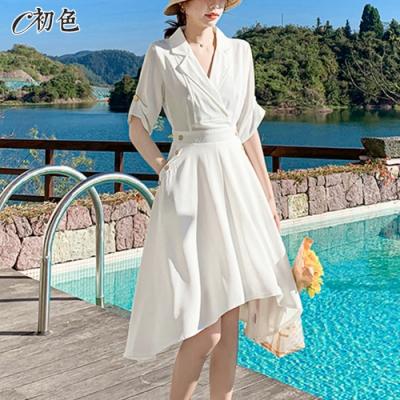 初色  設計感不規則裙襬洋裝-白色-(M-2XL可選)