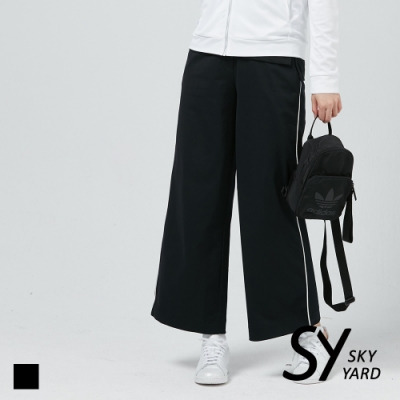 【SKY YARD 天空花園】簡約側面織帶寬口褲-黑色